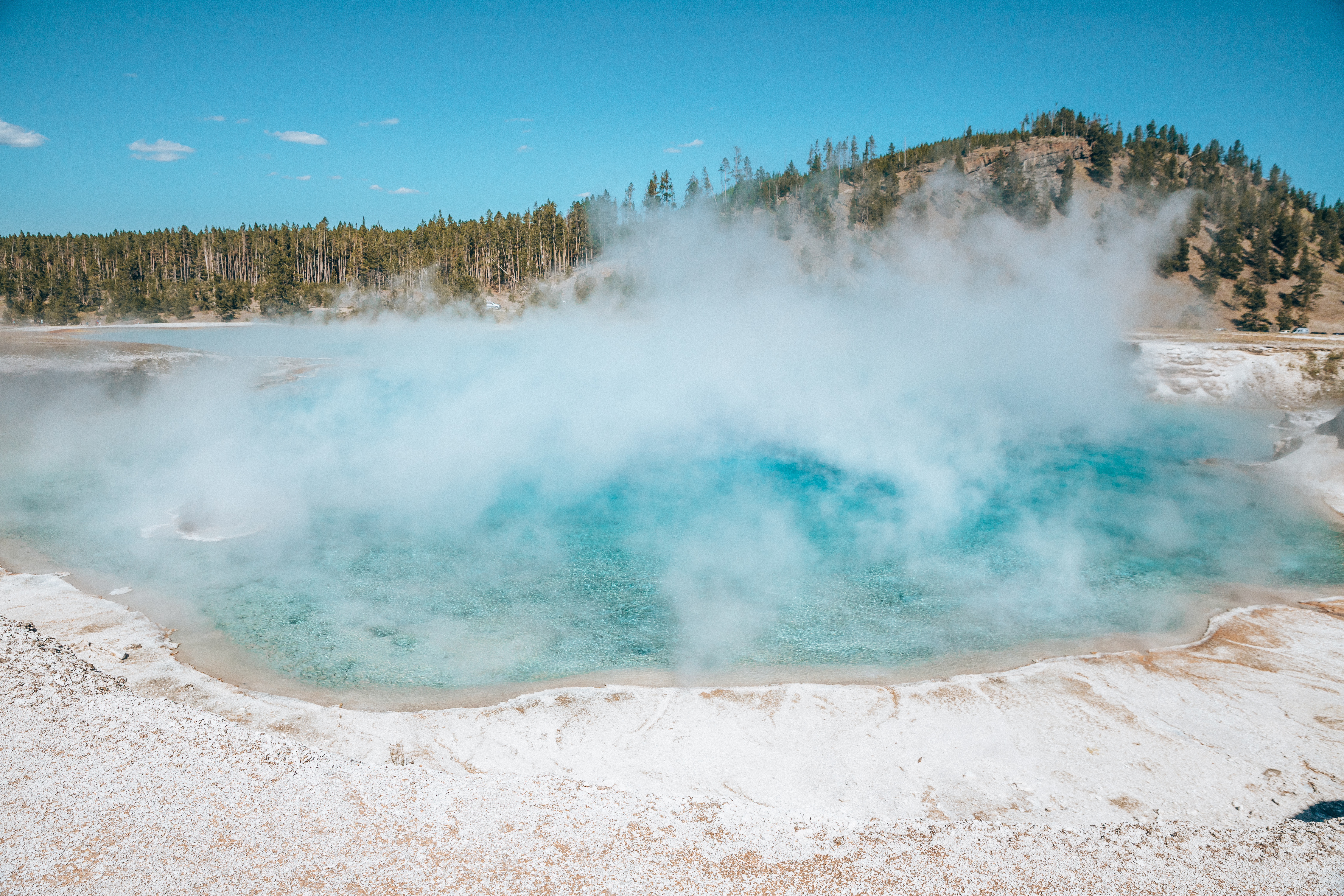 Turquoise boiling Geyser Excelsior at Yellowstone