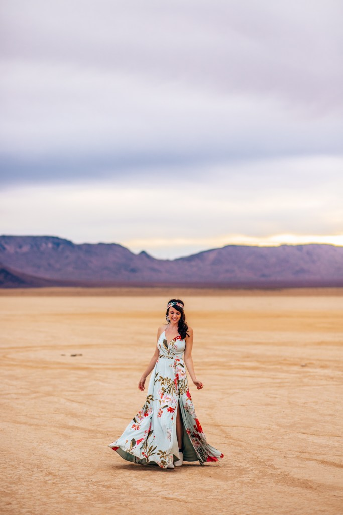 Dried Lake close to Vegas with woman twirling