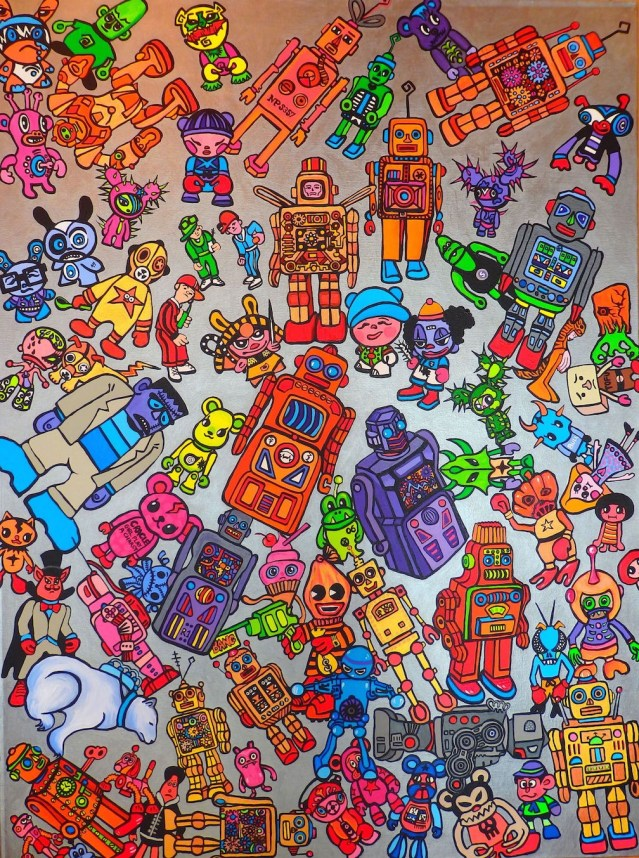 """The Toy Box 36"""" by 48"""" Acrylics, enamel and metallic paints on Canvas- available"""