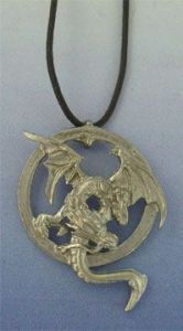 dragon amphisbaena silver pendant
