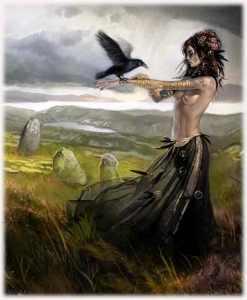 Morrigan y cuervo
