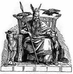 Odin god with wolf