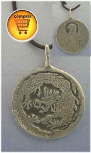phoenix and dragon silver pendant
