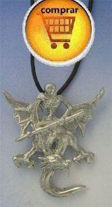 dragon and squeletor silver pendant