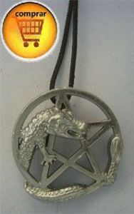 dragon and pentacle wicca amulet silver pendant