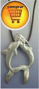 mermaid and delphin silver pendant