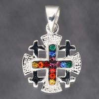 Серебряный Иерусалимский крест с кристаллами