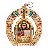 Оберег для дома подкова с иконой Иисуса Христа