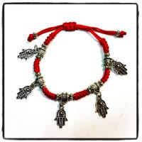 Красный браслет плетёный Хамса Рука Фатимы
