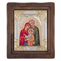 Икона Святое Семейство 21х18 см Шелкография Серебро