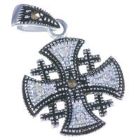 Кулон Крест Иерусалимский Капельное Серебро
