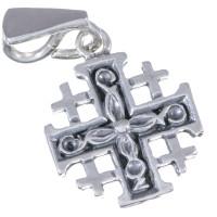 Подвеска Иерусалимский Крест Серебряная с вязью