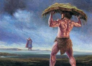 Fionn el heroe celta desafiando al gigante