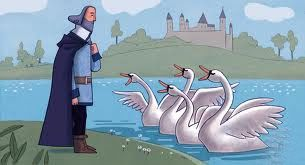 4 cisnes encantados contándoles la verdad a su padre Lir
