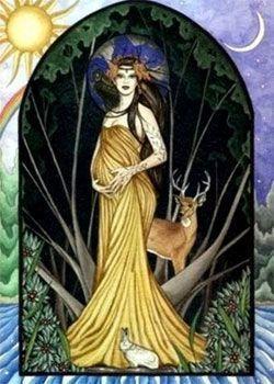la diosa embarazada y el dios Cernunnos ciervo celta. Litha celebre los ritos de fertilidad