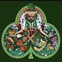 trébol irlandés con Leprechaun