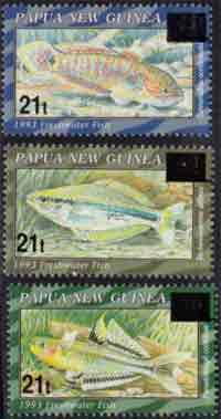 peces papua en sellos de Nueva Guinea