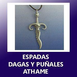 colgantes espadas puñales dagas athame plata oro