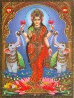 Lakshmi la diosa hindú con los dos elefantes