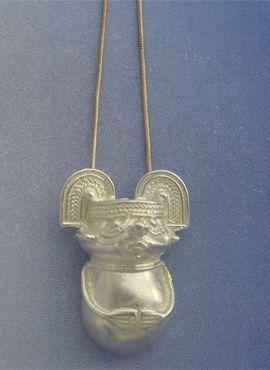 colgante chaman tairona figura precolombina de plata