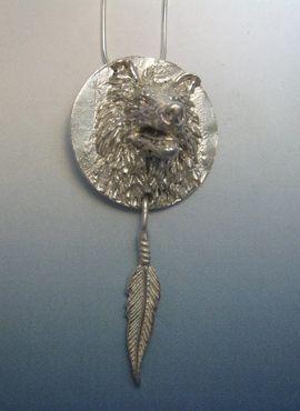 colgante lobo tótem amuleto nativos americanos