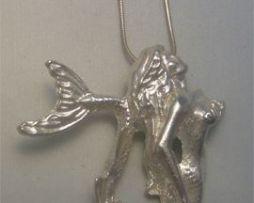 sirena plata colgante amuleto