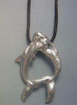 colgante sirena con delfín colgante amuleto plata