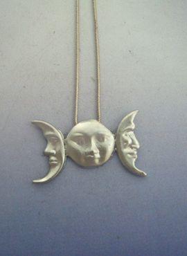 colgante triple luna diosa celta amuleto de plata de la diosa