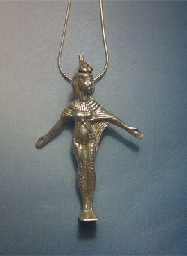 colgante Selket amuleto figurilla de plata maciza de la diosa del desierto amuleto egipcio