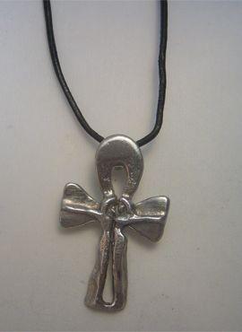 cruz de ankh de plata o anj de Egipto, amuleto de pareja de amarre de amor