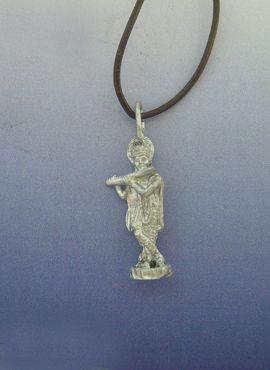 colgante krishna amuleto hinduista de plata