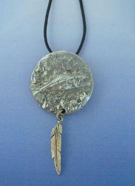 colgante salmón tótem de plata amuleto indios americanos