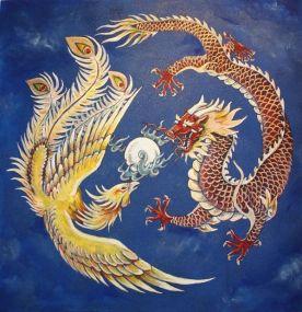 dragón y ave fénix en lucha