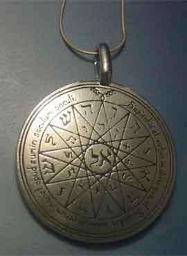 talismán de Mercurio, cuarto pantáculo de los sellos clavículas de Salomón, en plata de ley con cordón de plata