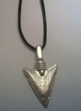 colgante de flecha punta de silex en plata de ley