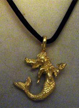 amuleto colgante sirena de plata