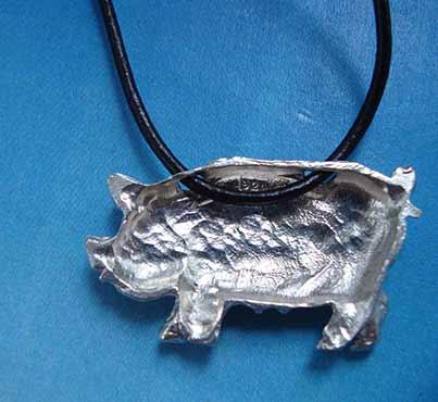 colgante cerdo de plata