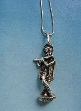 Krishna hindú colgante de plata