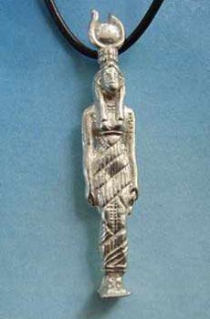 colgante amuleto diosa egipcia Hathor en plata