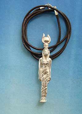 colgante hathor de EGIPTO, estatuilla de plata