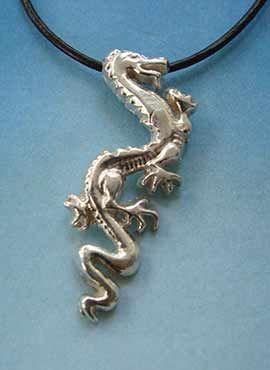 colgante dragón chino lung de plata