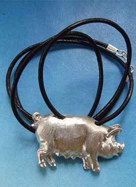 colgante joya cerdo de plata