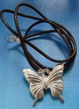 mariposa collar de plata colgante