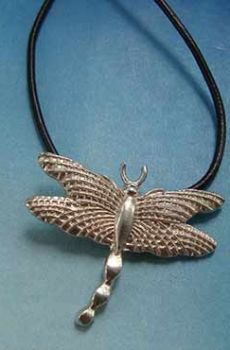 colgante collar libéllula de plata