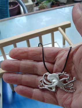 collar pulpo de plata de ley joya