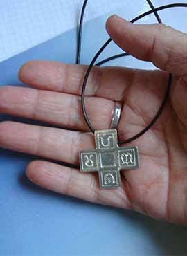 colgante de plata cruz griega 4 estaciones