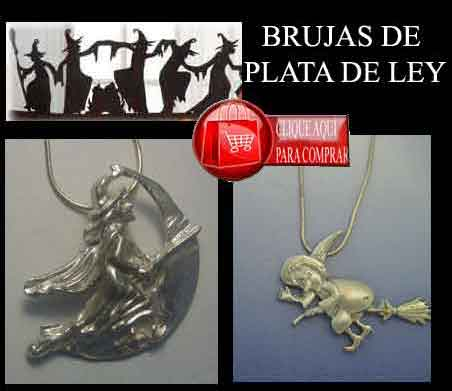 brujas de plata colgantes amuletos