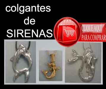 sirenas colgantes de plata y oro