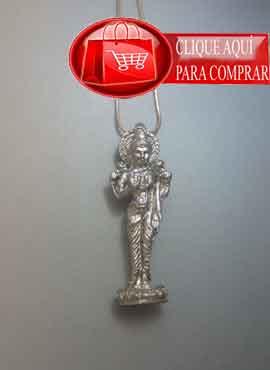 Laksmí diosa hindú en figurilla de plata. Colgante plata maciza