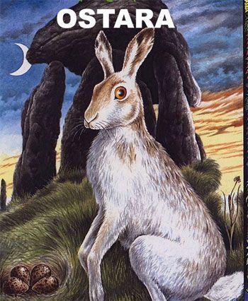 Fiestas celtas de ostara, simbolizada por la liebre en el inicio de la primavera
